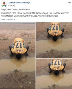 Defection: Man Drinks Muddy Water To Show Support For Senator Kwankwaso (Photos)