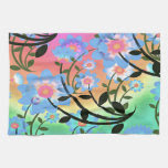 Pretty Abstract Multicolored Flowers Blue Hand Towel