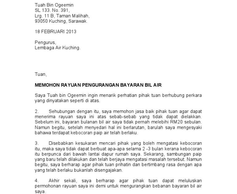 Surat Rayuan Pengurangan Bil Air Persoalan O