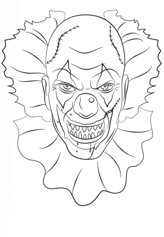 scary clown coloring page  free printable coloring pages