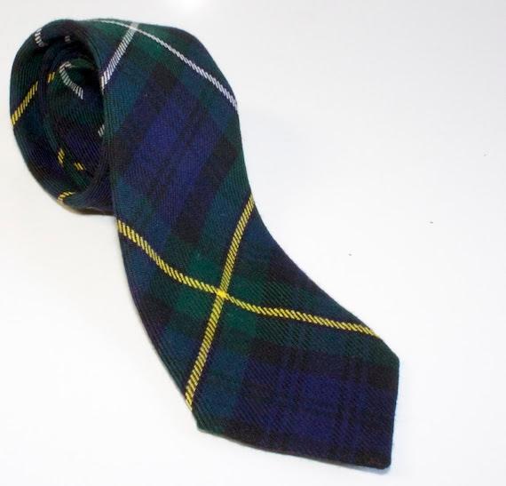 Vintage Skinny Scottish Plaid Wool Tie