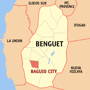 English: Map of Benguet showing the location o...