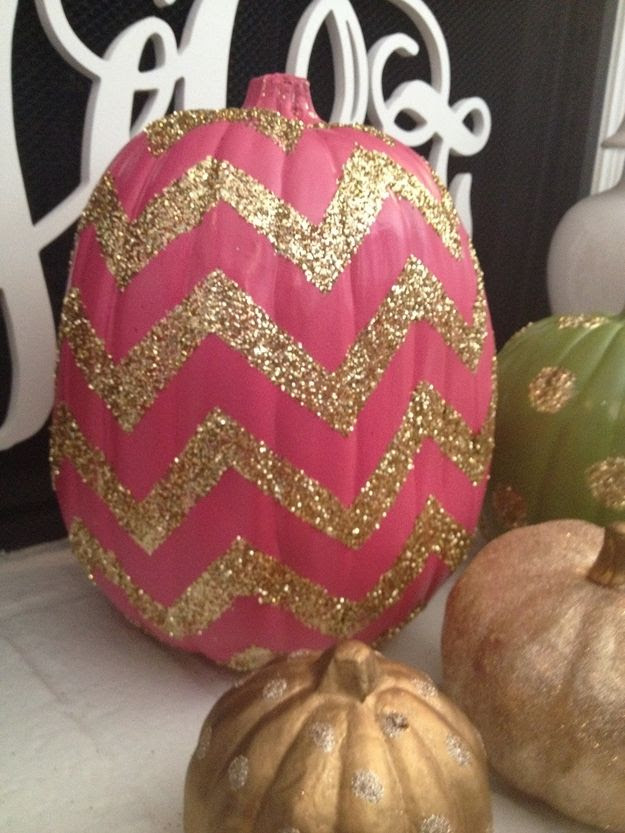 Pink Chevron & Glitter Pumpkin | Community Post: 39 Outside-The-Box Pumpkin Ideas