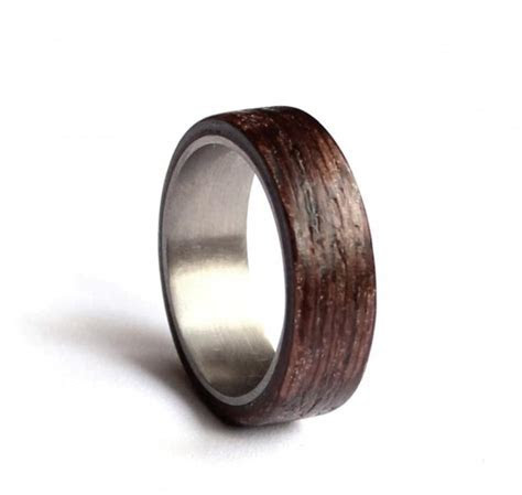 Stainless Steel Wedding Ring, Mens Wedding Band, Wood Mens