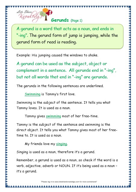 Grade 3 Grammar Topic 42 Gerunds Worksheets Lets Share Knowledge