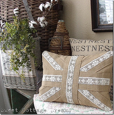 Union Jack Pillow made from burlap and lace.