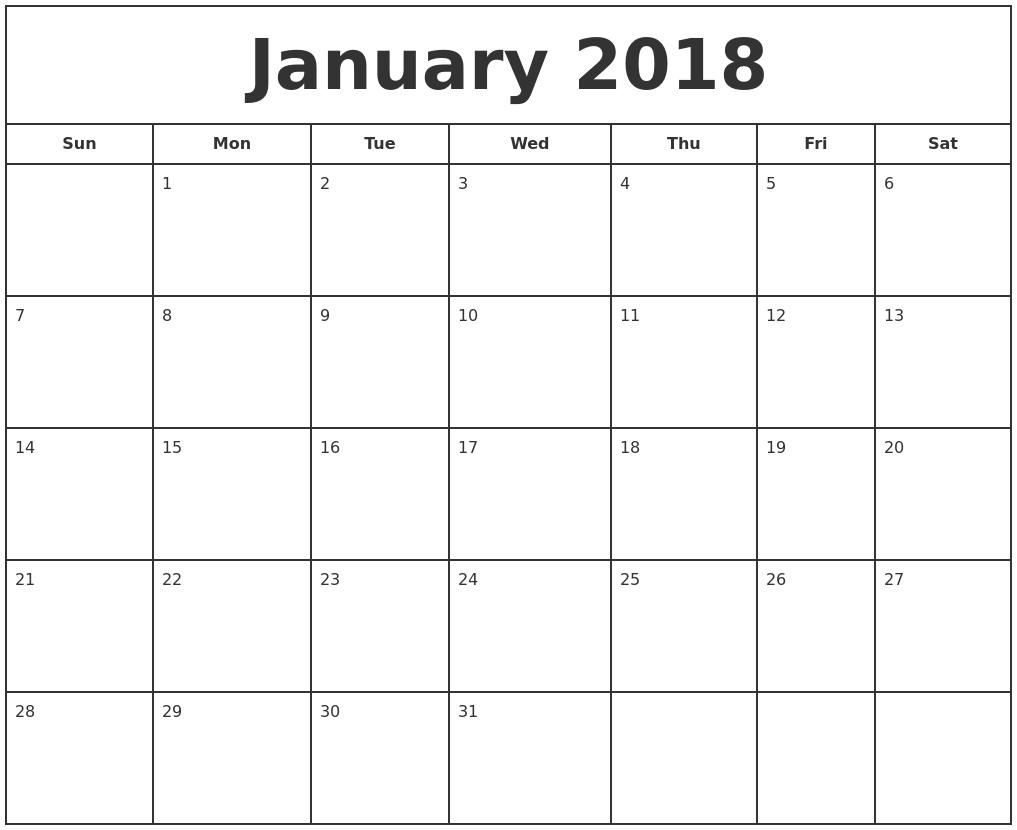 january 2018 print free calendar