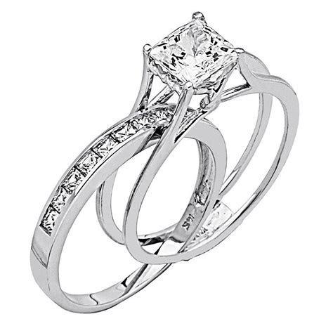 Wedding Rings For Women Princess Cut   14K White Gold High