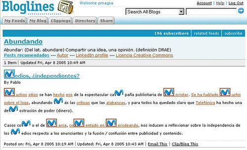 Captura post Movistar en Bloglines