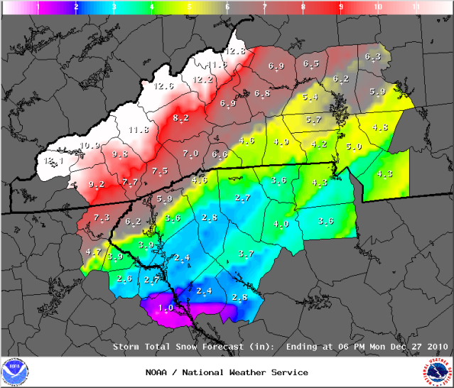 The FOURTH Snow Depth Forecast on the 2010 Christmas Storm  Graphic Courtesy of the Greenville Office of the National Weather Service