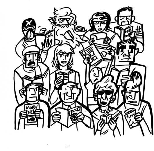 Personas Leyendo Dibujo De Varias Personas Todas Leyendo Un Libro O