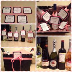 A year of firsts wine basket for bridal shower gift