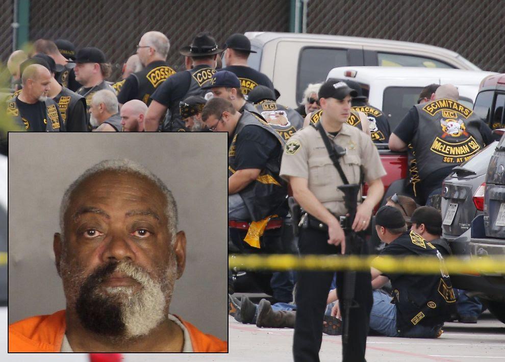 <p>SKJEGG IT OUT: Eks-politimannen Martin Lewis avbildet med sitt karakteristiske svart-hvite skjegg på sitt arrestfoto. I bakgrunnen vises noen av gjengmedlemmene som ble pågrepet etter forrige ukes skyteepisode i Texas.<br/></p>