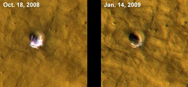 Two photos showing water ice inside a Martian crater, before the ice sublimates (vaporizes) into gas.