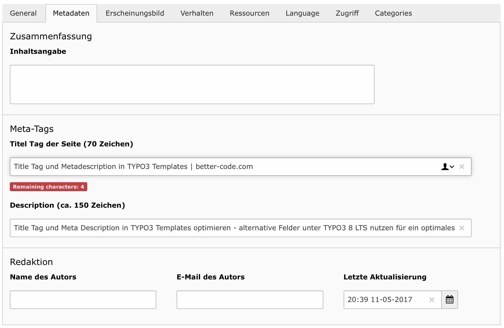 Title Tag Und Metadescription In Typo3 Templates Better Codecom