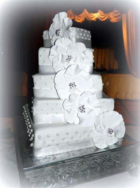 Square Staircase Stacked Wedding Cake   CakeCentral.com