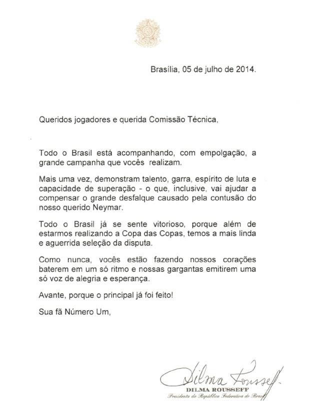 A carta enviada por Dilma aos jogadores e à comissão técnica da seleção (Foto: Reprodução)