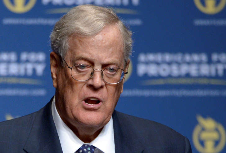 In this Aug. 30, 2013 file photo, Americans for Prosperity Foundation Chairman David Koch speaks in Orlando, Fla.
