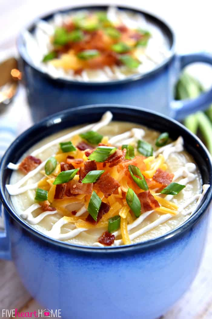 Slow Cooker Loaded Baked Potato Soup ~ a smooth and creamy crock pot soup garnished with a variety of toppings, from sour cream and shredded cheese to crispy bacon and green onions | FiveHeartHome.com