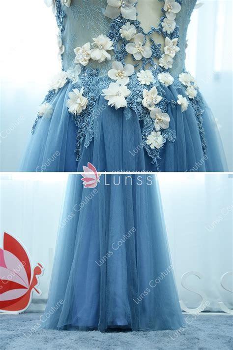 Fairytale 3D Floral Embellished Pool Blue Tulle Cap Sleeve