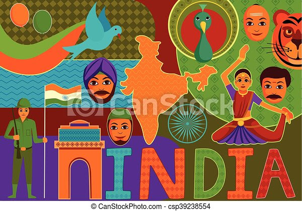 Collage Displaying Rich Cultural Heritage Of India Vector