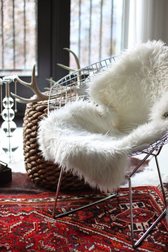 Chair, saw that fur fabric at Jo-Annes, really wanna make a pillow, foot rest or re-upholster something with it.