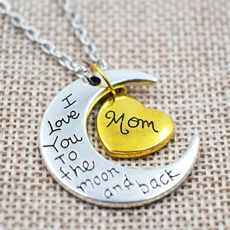 I Love You To The Moon And Back Silver Necklace Mom Dad Daughter
