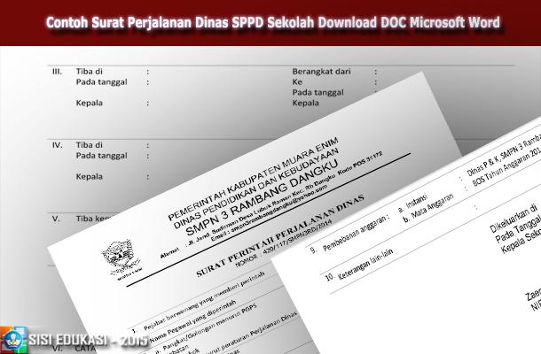 Contoh Surat Perjalanan Dinas SPPD Sekolah Download DOC Microsoft Word