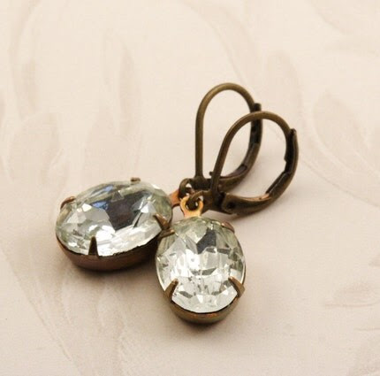 Vintage Glass Jewel Earrings - Clear