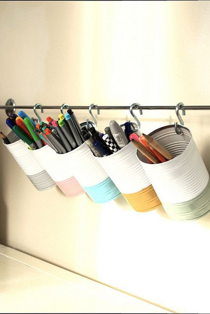 Tin can pen and pencil storage by wrongdecade, via Flickr