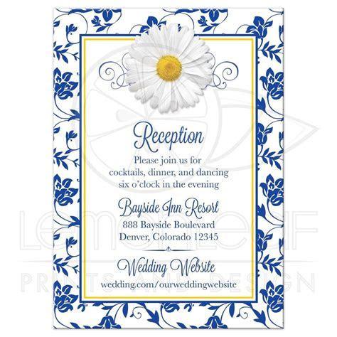Daisy Wedding Reception Card Royal Blue Floral Damask Ribbon