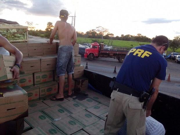 Confecções estavam embaixo das caixas de verdura e óleo de soja em caminhão, em Araguaína (Foto: Divulgação/PRF TO)