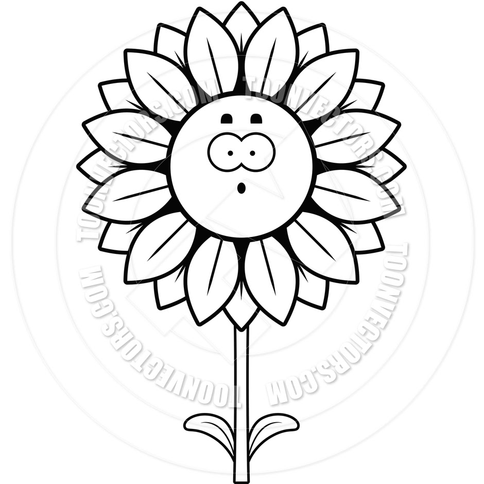 89 Sunflower Clipart Black And White Clipartlook