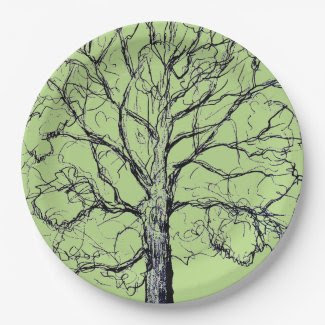 Stately Sketched Tree on Paper Plates