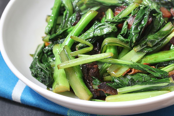 Hong Kong-Style Chinese Broccoli and Pan-Seared Thick-Cut Filet Mignon Steaks