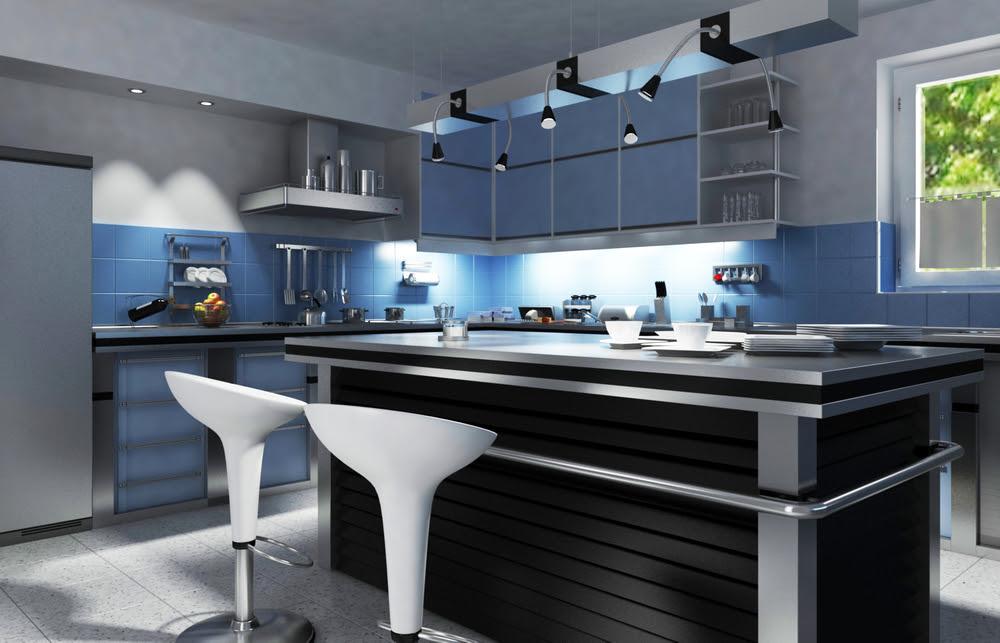 Cuisine moderne avec îlot noir au milieu d'armoires bleues et de murs gris.