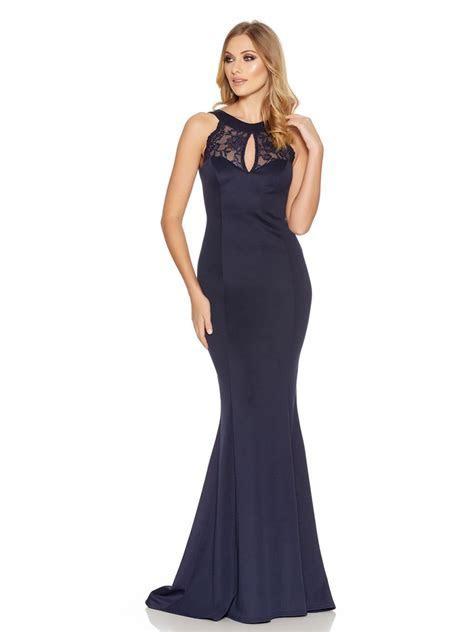 Navy Lace Detail Low Back Fishtail Maxi Dress   Wedding
