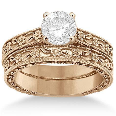 Carved Floral Wedding Set Engagement Ring & Band 18K Rose