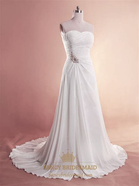 White Chiffon Beach Wedding Dresses, Strapless Chiffon