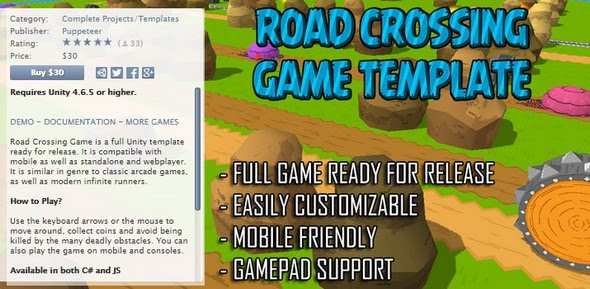 Asset Store -  Road Crossing Game Template