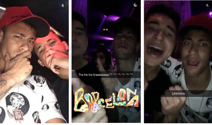 Neymar curtindo noite de domingo com os amigos (Foto: snapchat)