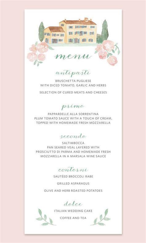 Italian Wedding Menu Cards, Menu Card with Italian Villa