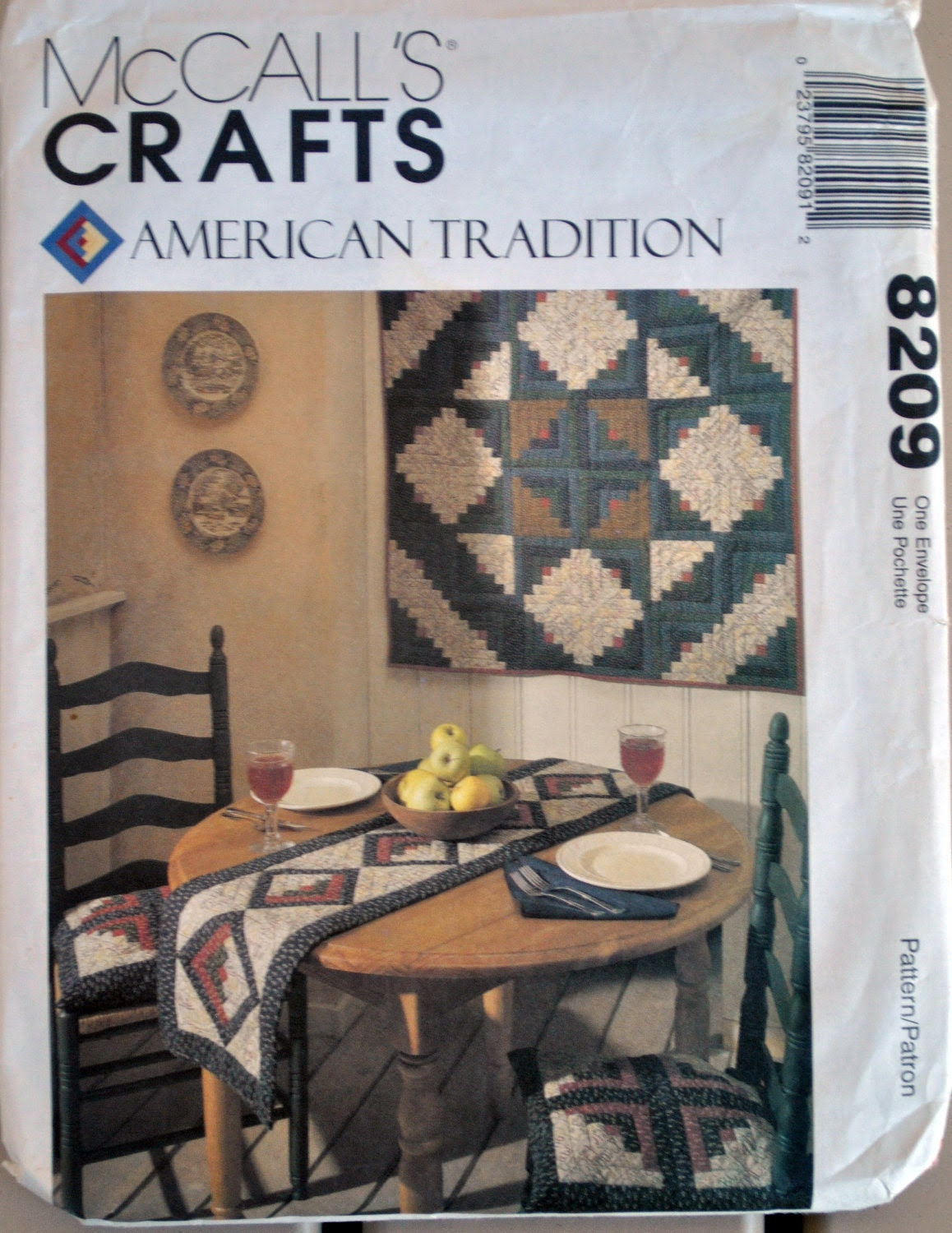 McCall's 8209 Classic Quilted LOG CABIN Motif Kitchen by Chachkys