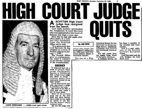 Lord Dervaird Quits - Daily Record Dec 23 1989