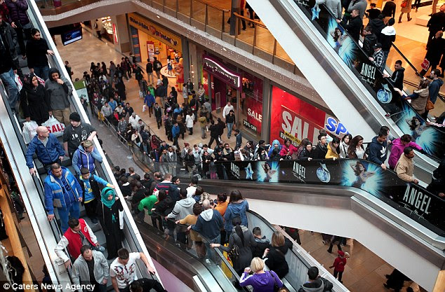 Packed! The Bullring in Birmingham was jammed with customers eager to take advantage of the slashed prices