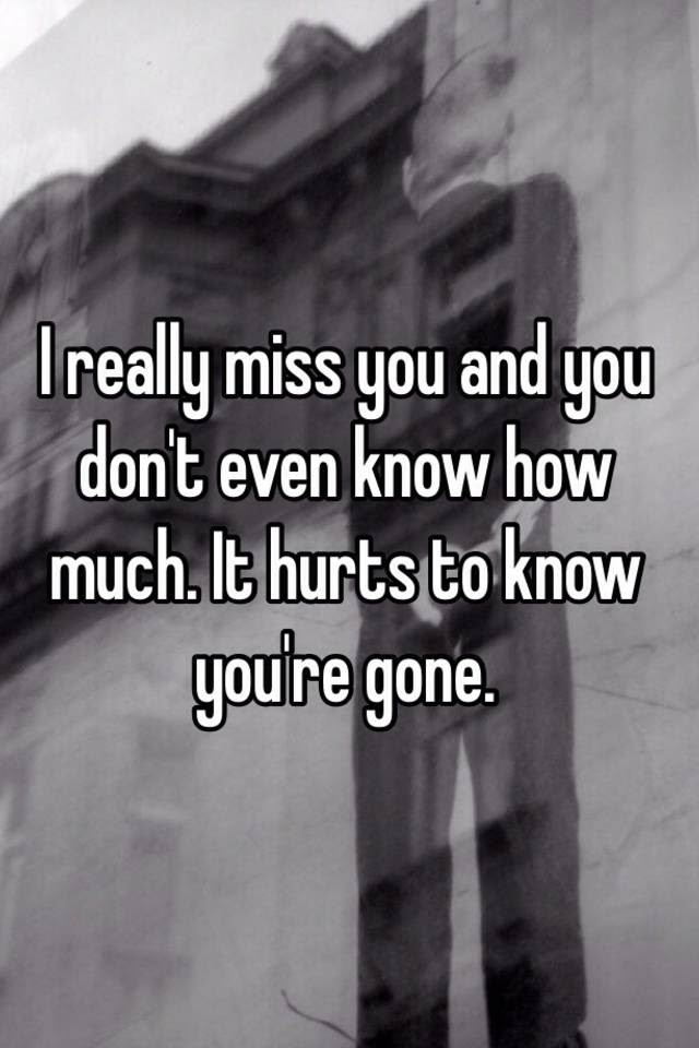 I Really Miss You And You Dont Even Know How Much It Hurts To Know