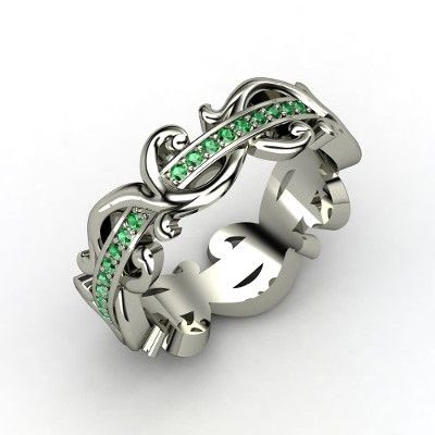 Atlantis Eternity Band - Sterling Silver Ring with Emerald   Gemvara - This is the wedding ring of my dreams!