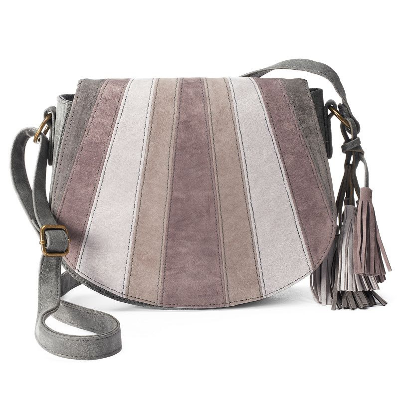 T-Shirt & Jeans Patchwork Saddle Crossbody Bag, Women's, Grey