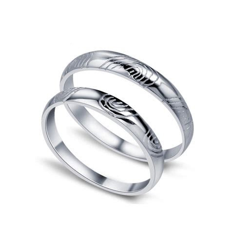 Fingerprint of love His and Her Matching Wedding Ring Set