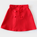 Red Button Delphine Skirt